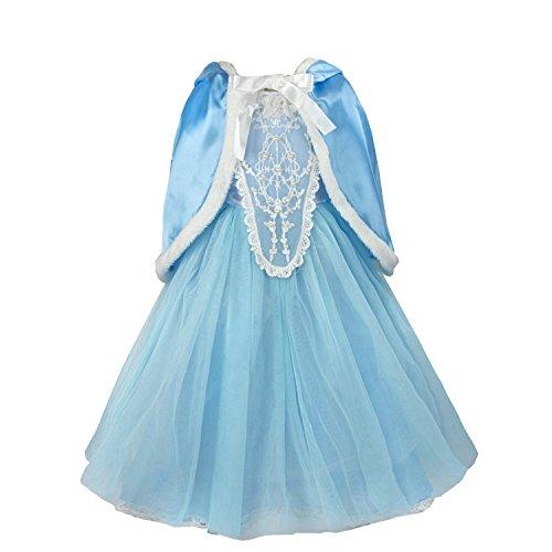 discoball Mädchen Elsa Kleid Eiskönigin Cinderella Prinzessin Kostüm mit Umhang für Karneval Weihnachten Halloween Cosplay Party (Blau, 6-7 Jahre)