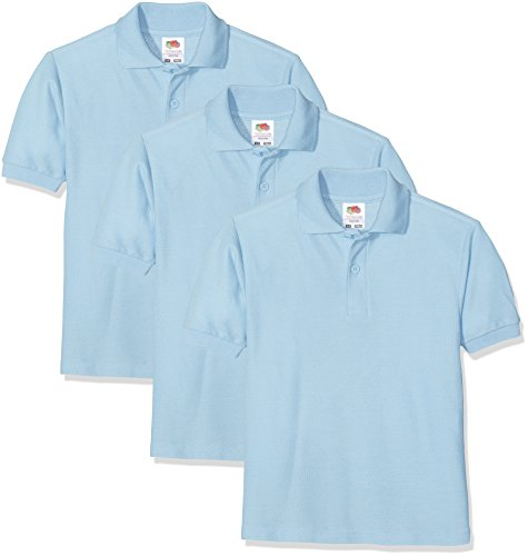 Fruit of the Loom Jungen Schul-Oberteil Kids Polo 3 Pack, 3, Blue (Sky), 3-4 Jahre (Uniform Girl Scout)
