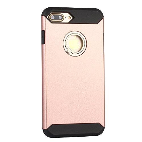 iPhone 6 Plus/6s Plus Hülle, Aohro Silikon TPU + PC Doppelter Schutz Stoßfeste Schutzhülle Tasche Case Cover Handyhülle mit 360 Grad RIng Standhalter für Apple iPhone 6 Plus/6s Plus 4.7 zoll , Rose go Rose gold