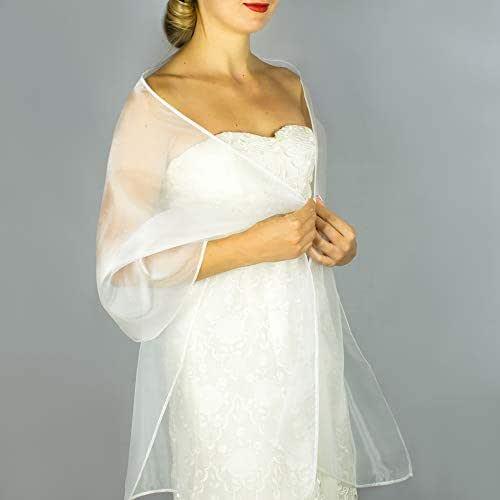 Stole donna organza scialli vestito da sposa nuziale poncho bianco