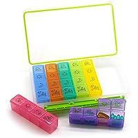 PuTwo Pastillero 7 Días 28 compartimentos Dispensador de Medicamentos Semanal 4 tomas Pastillero Organizador Medicamentos Organizador Dosificador de Medicamentos Pastillas Con Caja - Multicolor