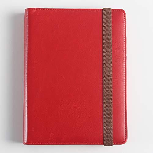 LIUCHEN@ NotizbuchNeues Büroschulleder-Spiralblockbriefpapier, persönliches Mappenplaner-Tagebuchzeit-Tagesordnungs-Organisatornotizbuch, rot