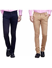 Nimegh Navy Blue And Beige Color Cotton Casual Slim Fit Trouser For Men's (Pack Of 2)