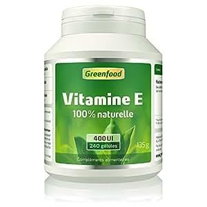 Greenfood - Vitamine E 400 iE, vitamine E végétale - 240 capsules softgel - 100 % naturelle