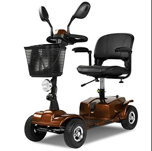 ZYT 4-Rad elektrisch Reise Rollstuhl für Erwachsene,250w Reisen Leistung Roller 12AH Batteriepack,Enthält Challenger Fornt Basket & LED-Licht Fahrbar 25km,Verstellbare Höhe Rollstühle,Brown (Hohe Rollstuhl)