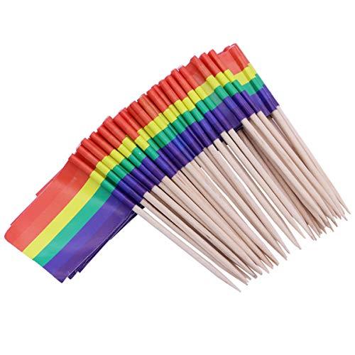 Healifty stuzzichini legno arcobaleno stuzzichini colorati arcobaleno stuzzicadenti stuzzicadenti stuzzicadenti decorativi bandiere portatili