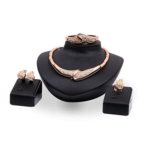Xinmeitezhubao Übertrieben Schmuck Set Halskette Ohrringe Armband Ring Vier Stück Hochzeit Partei Schmuck