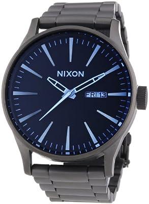 Nixon Sentry SS A3561427-00 - Reloj Analógico de Cuarzo Para Hombre, correa de acero inoxidable, color gris oscuro (gunmetal)/azul cristal