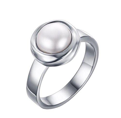 PAURO Donna Acciaio Inossidabile Bianco Placcato Oro Rotondo Madre di Perla Intarsio Anello Lunetta Impostazione Taglia
