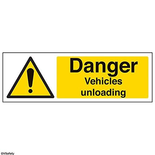 vsafety 64015–Schaukelgestell ax-r Gefahr Fahrzeuge Entlädt Warnung Fahrzeug-Zeichen, starrer Kunststoff, Landschaft, 300mm x 100mm, schwarz/gelb