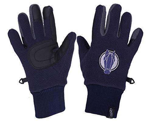 QHP Fleece-Reithandschuhe Fresco Handschuhe Druckmotiv Touchscreennutzung (Junior 1, Navy)