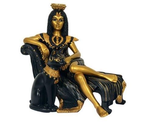 Deko Figur Ägyptische Mythologie Kleopatra mit Bastet 13 cm aus Polyresin