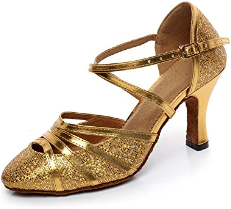 JSHOE Zapatos De Danza Latina Para Mujer De Tacón Cerrado De Tacón Alto En Cuero De PU Brillo Salsa Tango,Gold-heeled8cm-UK5...