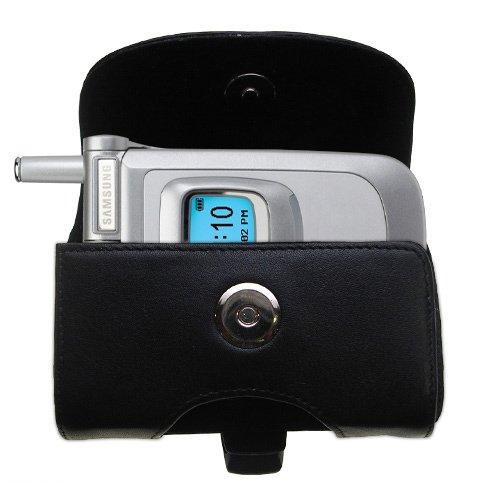 Custodia in pHorizontale schwarze Tragetasche für die Samsung SGH-V200 mit integrierter Gürtelschlaufe