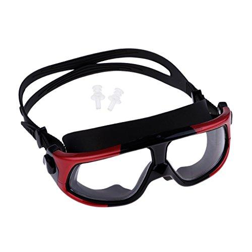 Unbekannt MagiDeal Premium Taucherbrille Profi Schnorchelbrille Anti-Fog Schwimmbrille Tauchmaske Schnorcheln Maske mit Ohrstöpsel - Schwarz + Rot