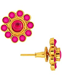 Spargz Antique Gold Plated Brass Metal Kemp Stones Stud Earring For Women AIER 303