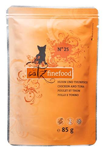 catz finefood N° 25 Huhn & Thunfisch Feinkost Katzenfutter nass, verfeinert mit Kürbis & Hagebutte, 8 x 85g Beutel