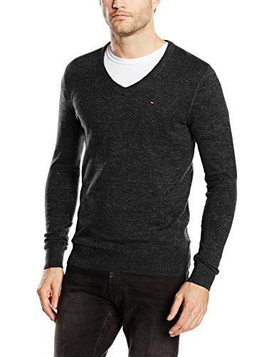 Hilfiger Denim Herren Pullover Original Cotton Blend VN Sweater LS Schwarz (TOMMY BLACK 078)