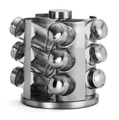 Gewürzkarussell Edelstahl mit 12 Glasbehältern