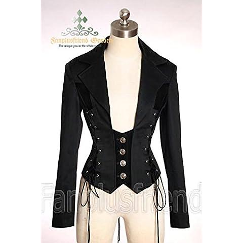 Giacca Cavaliere stile corsetto elegante gotico aristocratico nera