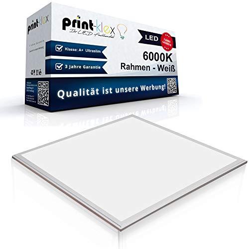 LED Panel Ultraslim 60 x 60 cm Einbauleuchte Lichtleuchte Strahler 50 Watt 4500 LM 6000K-Kaltweiß Rahmen Weiß - Office Print Serie