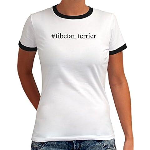 Maglietta Ringer da Donna #Tibetan Terrier Hashtag