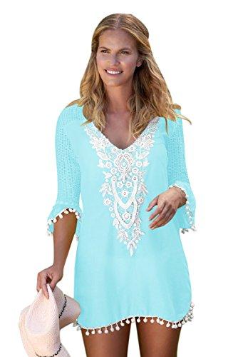 FIYOTE Damen Sommer Spitzen Bluse Tops Strand Badeanzug Bedecken Pareos Kimono Cardigan Strandkleid Hellblau S