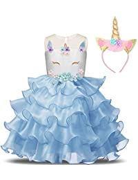 NNJXD Girls Unicorn Party Costume Flower Cosplay Wedding Christmas Fancy Princess Dress for Photo Shoot