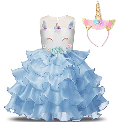 NNJXD Mädchen Einhorn Cosplay Fancy Kostüm Party Hochzeit Prinzessin Kleider + Kopfbedeckung Größe (140) 6-7 Jahre Blau