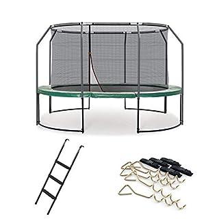 Ampel 24 Deluxe Outdoor Trampolin oval 311 x 412 cm im Set mit innenliegendem Netz, Leiter & Windsicherung, Belastbarkeit 160 kg, Sicherheitsnetz mit 8 Stangen