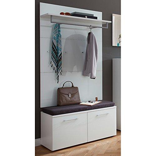 Garderoben Set in weiß ● 2-teilige Flurgarderobe mit Glasfronten ● Schuhbank mit Polster & Wandpaneel ● B x H x T: ca. 97 x 197 x 40 cm ● Made in Germany