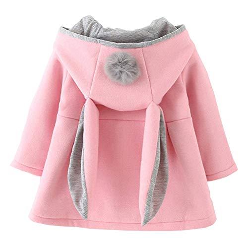 EDOTON Baby Mädchen Mäntel aus Baumwolle Frühlung Herbst Winter Jacken mit Haarballen Kaninchen Ohr Kleinkinder warm Kleidung (18-24 Monate, Rosa)