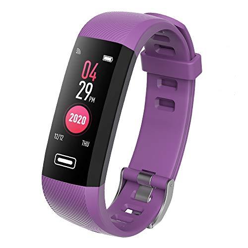 TEZER R5 Digital Uhr Fitness Armbanduhr Fitness Tracker Smartwatch Wasserdicht IP67 Aktivitätstracker Schrittzähler Armbanduhr Schlafanalyse Kalorienzähler Bluetooth Tracker mit IOS Android (Lila)