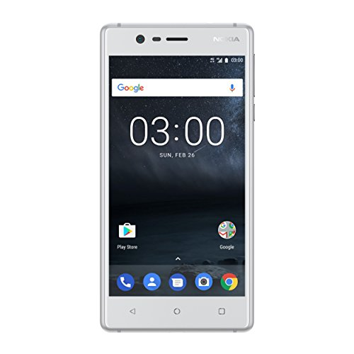 Nokia 3 SINGLE SIM Smartphone (12,7 cm (5 Zoll), 16GB, 8 Megapixel Kamera, Android 7.0) silber-weiß
