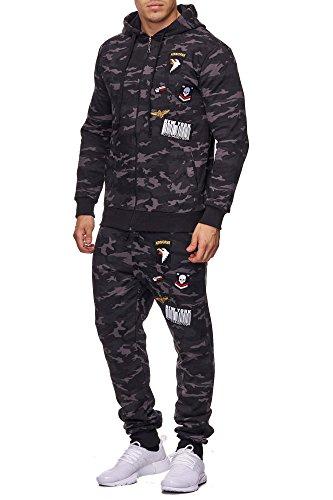 Herren Jogging-Anzug USA-Patches 685 (M-Slim, Anthrazit-Camouflage)