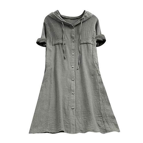 YEBIRAL Damen Bluse V-Ausschnit Langarm Shirt Leinen Einfarbig Lässige Lose Tunika Tops T-Shirt Hemdbluse Große Größen (EU-40/CN-L, 01-Beige)