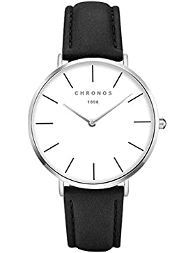 XLORDX Classic Damen Ultra Dünne Elegant Analoge Quarz Armbanduhr Quarzuhr und Klassisch Schwarz Leder Silber