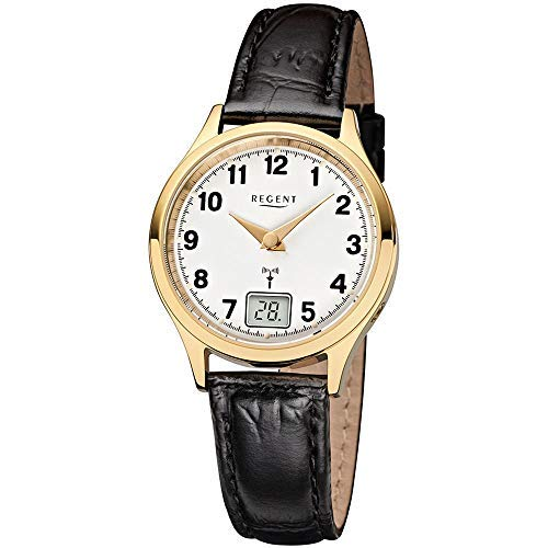 Funkuhr für Damen goldfarben Regent mit Lederband 12030074