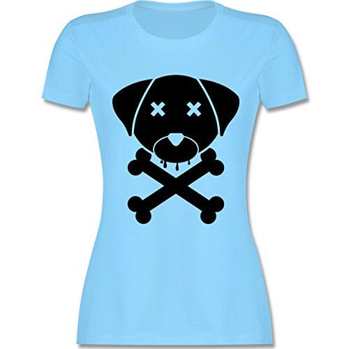 Hunde - Hund Skull - tailliertes Premium T-Shirt mit Rundhalsausschnitt für Damen Hellblau