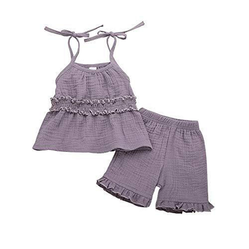 KoojawindKleinkind Baby Mädchen ärmellos Solid Print Rüschen Weste Tops + Shorts Outfits Sets, Verstellbarer Schultergurt ärmelloses Kleidungsstück-Pure Color-3 Farbe für ausgewählte Stripe Short Beanie