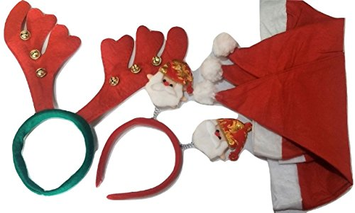 Set of 5 - Christmas Hat, Reindeer Headband and Spring Headband with Two Smiling Santas