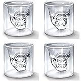 PACKNBUY Shot Glasses Set Of 4 Doomed Skull Tequila Drinks