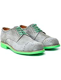Botosvalverde-712 Zapatos Oxford Ante Hombre Gris Ligero Elegante de Valverde del Camino