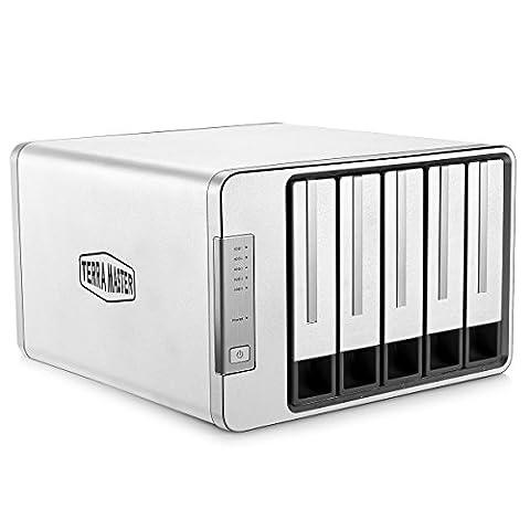 TerraMaster D5-300 USB3.0(5Gbps) Typ-C 5 Bay Externe Festplatten RAID Gehäuse RAID 5 Aluminum Festplattengehäuse (Up to 50TB,