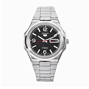 Seiko Men's Automatic Watch with Black Dial Analogue Display and Silver Stainless Steel Bracelet SNKK59