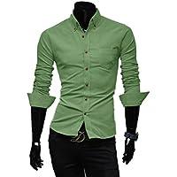 Honghu Casual Stretch Modern Fit Manga Larga Cuello Clásico de la Camisa Freizeit Camisas para Hombre