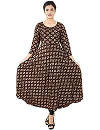 3a9c88d5b67 Women s Gown Dress Rayon Maxi One Piece Diamond Design Block Printed  (Goldish) Long Dress