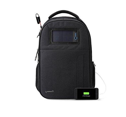 Solgaard Design, Lifepack, zaino con caricatore solare USB e scomparto per PC portatile, Stealth Black (Nero) - LPO-IB-B