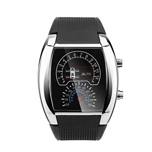 Yivise Reloj de medidor de Coche Deportivo Deportivo con velocímetro de luz LED de Moda para Hombre