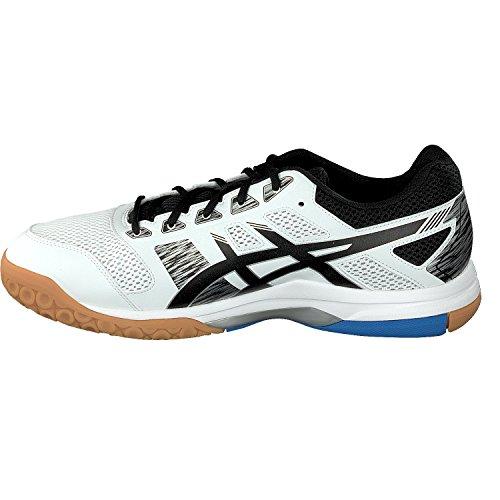Asics Hallen-Schuh Gel-Flare 6, Scarpe da Fitness Uomo Bianco (White/black/blue 000)